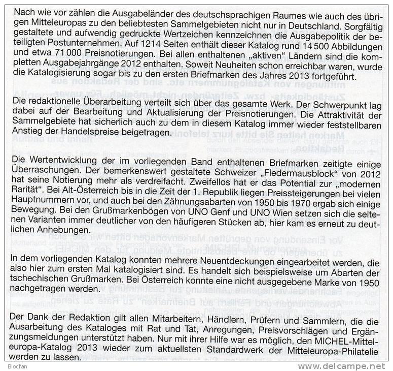 Band 1 Stamp Europa Katalog MICHEL 2013 Neu 60€ Mitteleuropa Austria Schweiz UNO CZ CSR Ungarn FL Slow 978-3-95402-041-6 - Deutsch