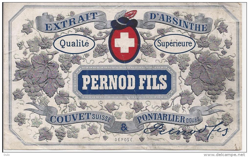 ABSINTHE étiquette  PERNOD FILS  A  COUVET &  PONTARLIER - Autres