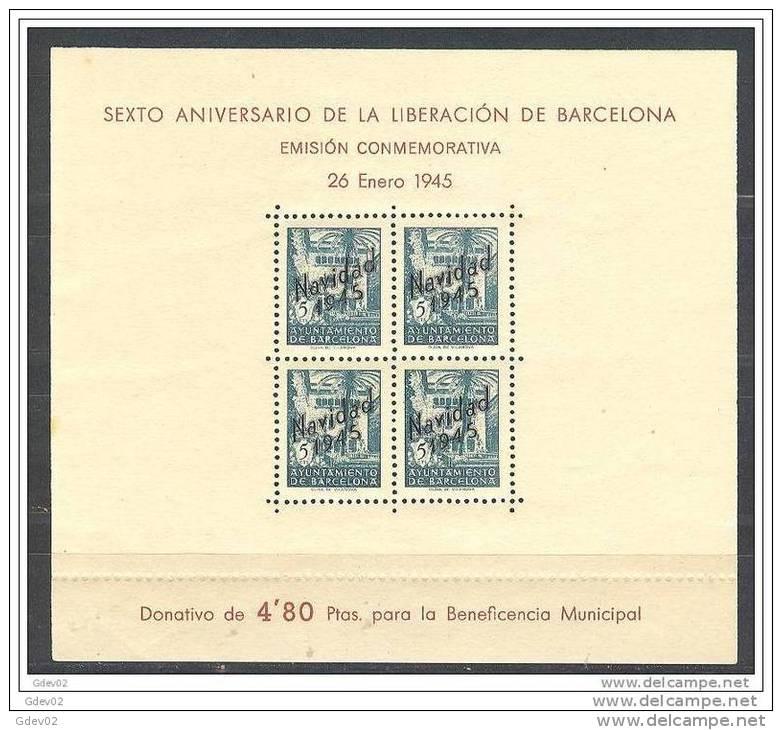 ESBCNNE30-L3641TSC.España .Espagne.Espagne.LIBERACION  DE BARCELONA.Beneficencia.NA VIDAD 45.1945.( Ed NE 30**) - Sellos