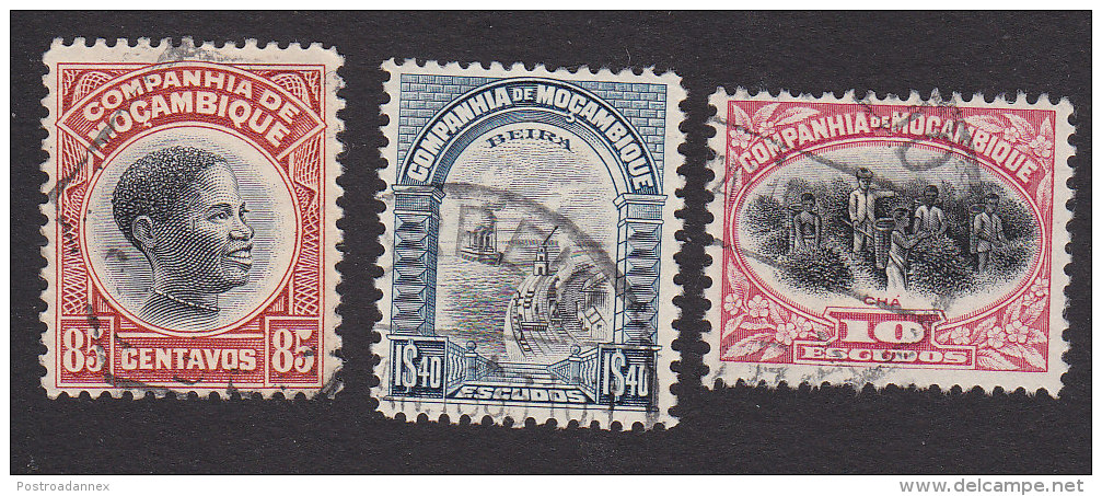 Mozambique Company, Scott #157-158, 160, Used, Scenes Of Mozambique, Issued 1925, 1931 - Mozambique