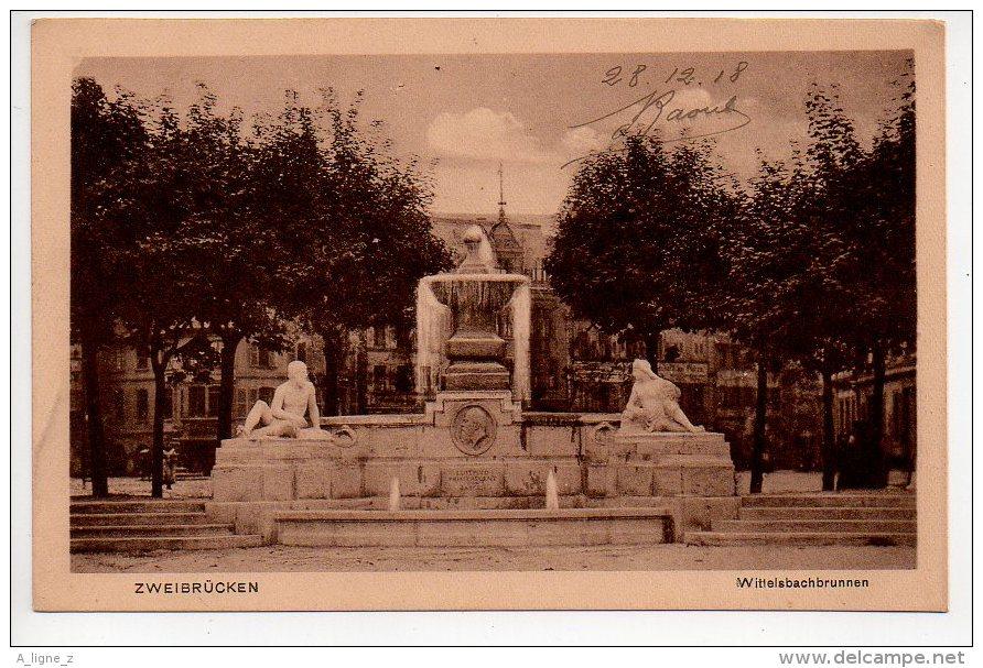 REF 154  : CPA Allemagne Zweibrucken Wittelsbachbrunnen 1918 - Zweibruecken