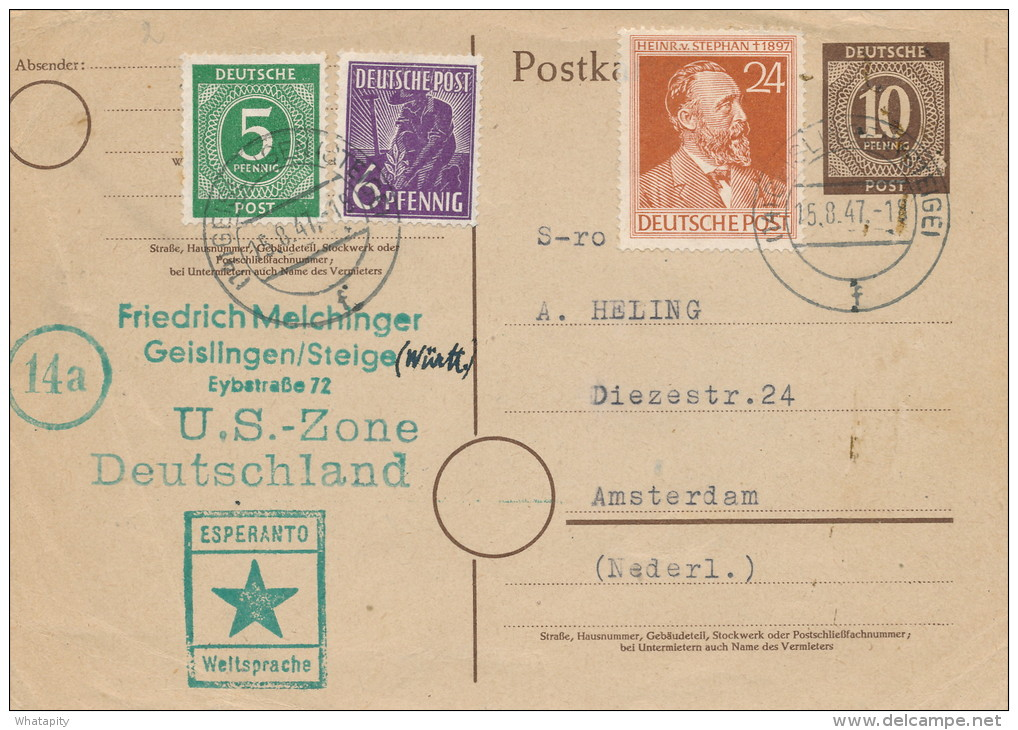 ESPERANTO - DEUTSCHLAND - Carte Entier Postal Cachet Etoile Verte GEISLINGEN 1947 Vers AMSTERDAM  -- C1/788 - Esperanto