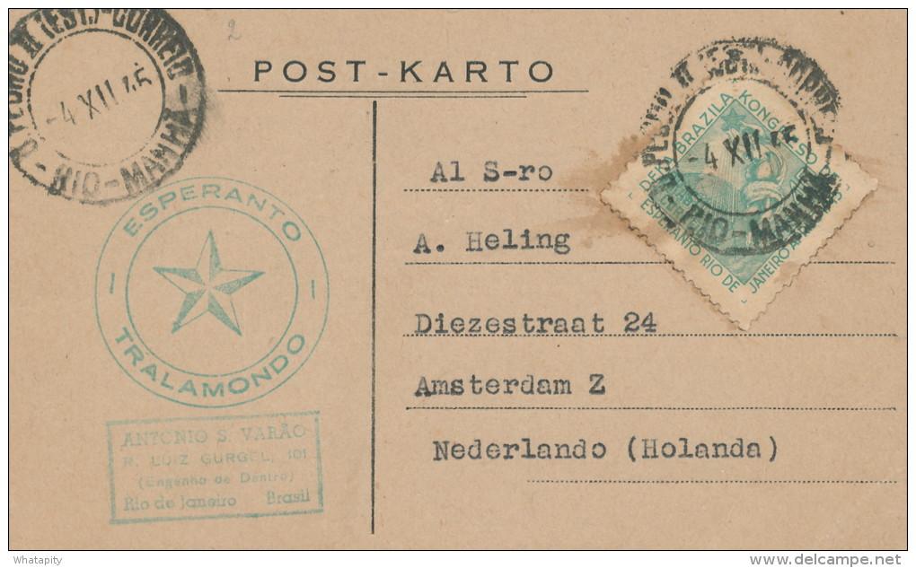 ESPERANTO - BRASIL - Carte Postale Cachet Etoile Verte RIO DE JANEIRO 1945 Vers AMSTERDAM  -- C1/789 - Esperanto