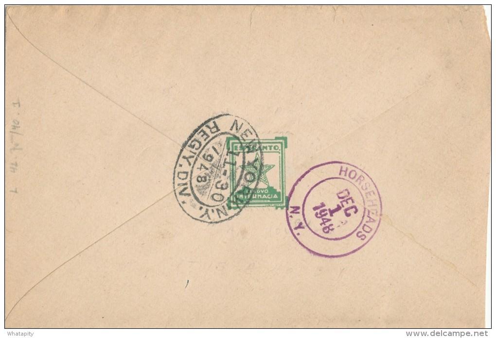 ESPERANTO - BELGIUM - Lettre TP Lion V SCHAERBEEK 1948 + Vignette Etoile Verte Vers USA  -- C1/796 - Esperanto