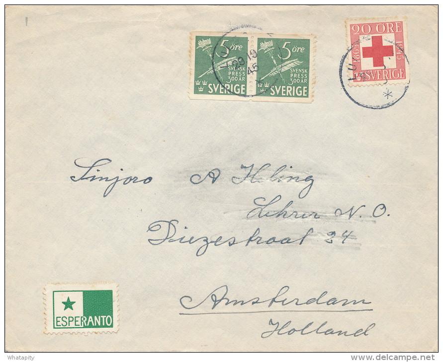 ESPERANTO - SVERIGE - Lettre TP Divers 1945 +  Vignette Etoile Verte Vers AMSTERDAM  -- C1/799 - Esperanto