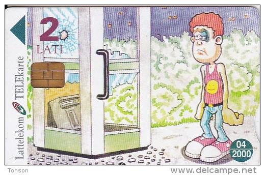 "Latvia, D-020, Cartoon, Comic ""billy"" - Serial Number 28LAT, 2 Scans. - Latvia"