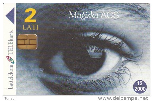 Latvia, D-034, Magic Eye, Blue, 2 Scans. - Lettonie