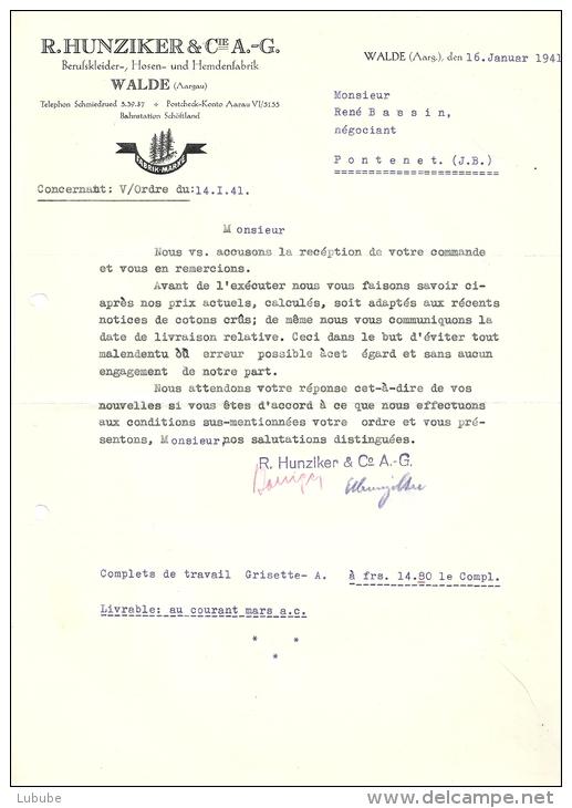 """Schreiben  """"Hunziker, Berufskleider, Walde""""            1941 - Mitteilung"""
