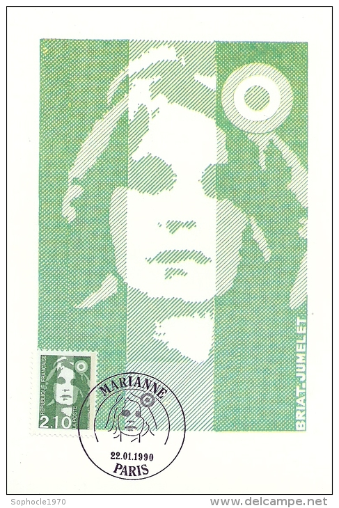 FRANCE - MARIANNE VERTE 2,10  - Timbre Et Tampon Jour D'émission PARIS - 22 - 1 - 1990 - Hauteur - Cartoline Maximum