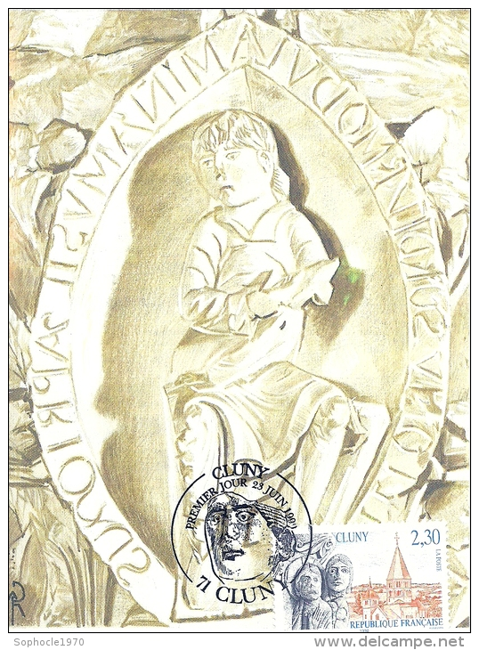 BOURGOGNE - 71 - SAONE ET LOIRE - CLUNY - Premier Jour 23 Juin 1990 - Cartoline Maximum