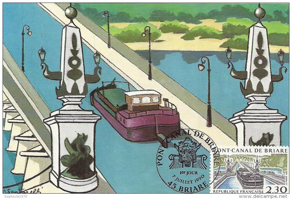 CENTRE - 45 - LOIRET - PONT CANAL DE BRIARE - Premier Jour - 7 Juillet 1990 - Cartoline Maximum