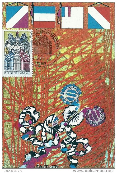 ILE DE FRANCE - 75 - PARIS - Création Du Drapeau Triocolore - Premier Jour 1990 - Cartoline Maximum