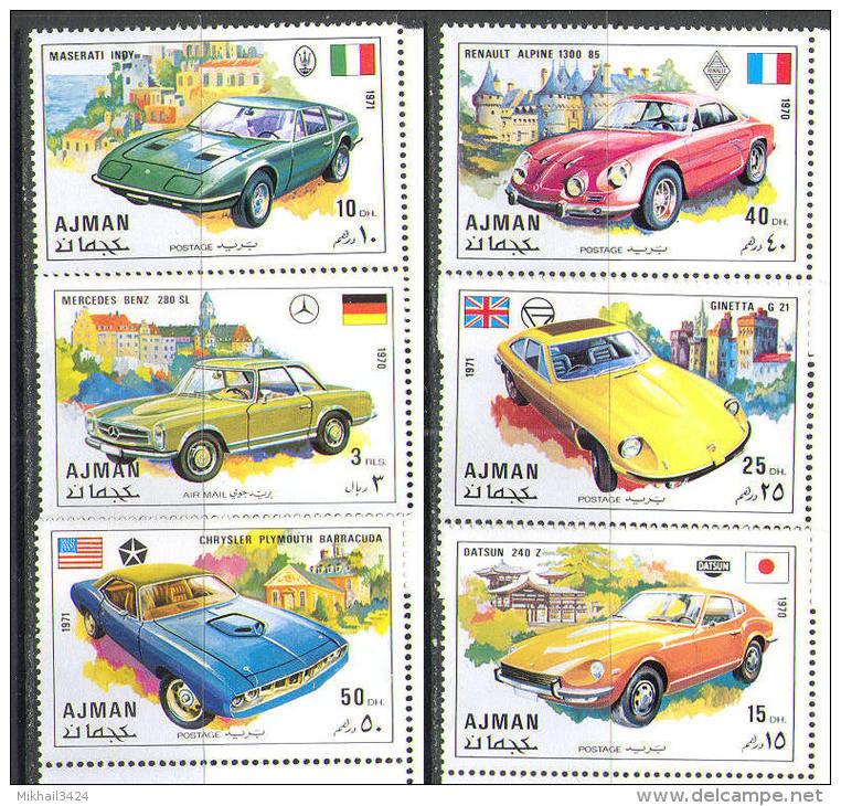Cars - M2676 ✅ Transport Old Cars Automobile Auto 1971 Ajman 6v set MNH **