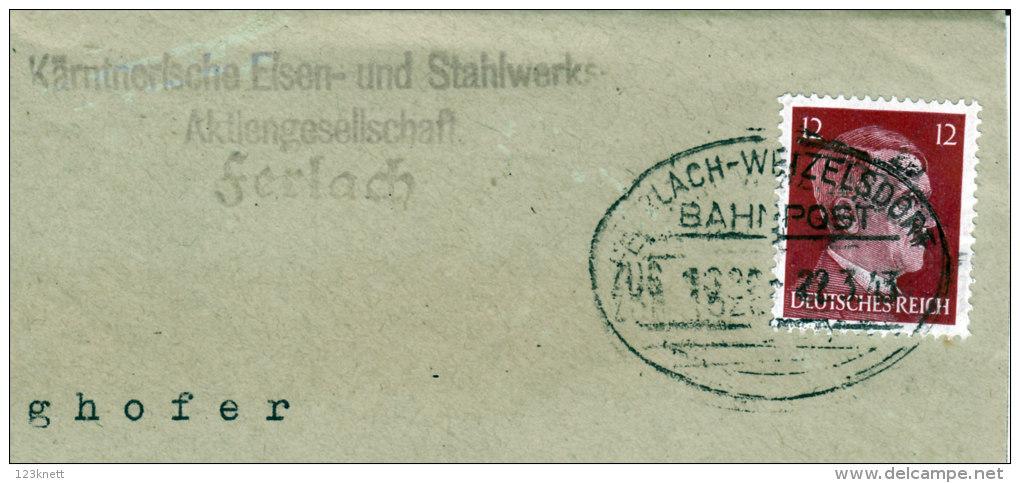 Bahnpost - Ferlach - Wetzelsfeld, ZUG 1320 ( 22.3.1943 ) - Marcophilie - EMA (Empreintes Machines)