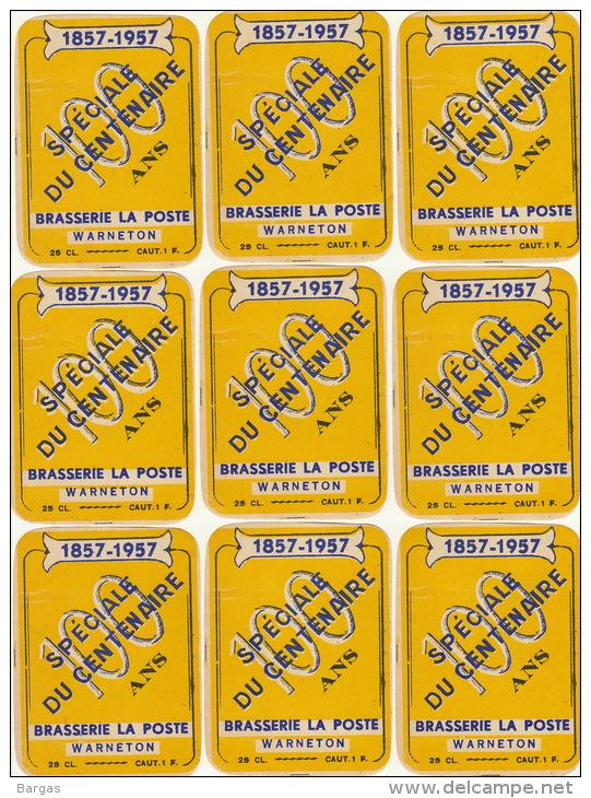 10 Etiquettes Brasserie De La Poste à Warneton Van Windekens De Simpel Tournai - Birra