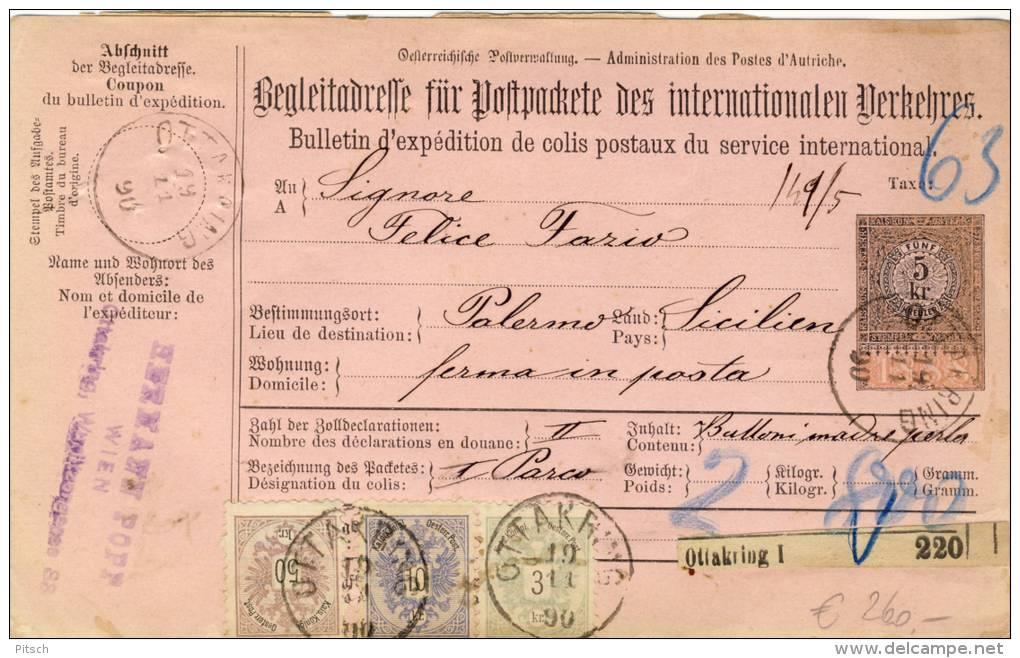 Österreich - Paketkarte 1890 Nach Palermo 50+10+3 1883 - 1850-1918 Imperium