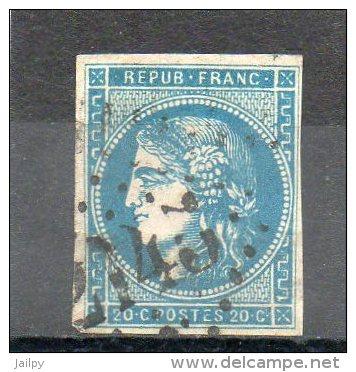 FRANCE   20 C   Année 1870   Y&T: 45B     Emission De Bordeaux  Timbre Avec Trou  ( Oblitéré) - 1870 Ausgabe Bordeaux