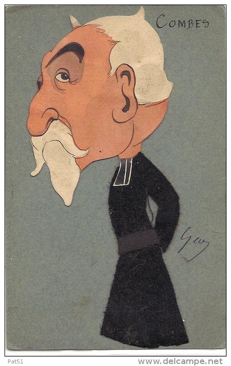 ILLUSTRATEUR  : Caricature Politique - COMBES - Signée GEO - Collage Feutrine & Carton - Künstlerkarten