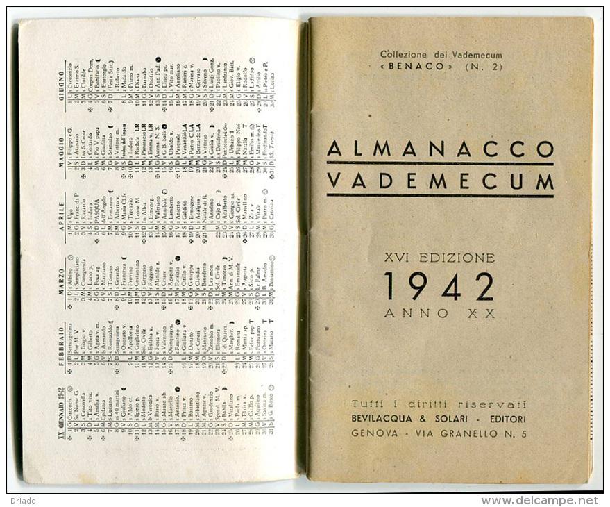 ALMANACCO VADEMECUM BENACO BIELLA ANNO 1942 - Calendriers