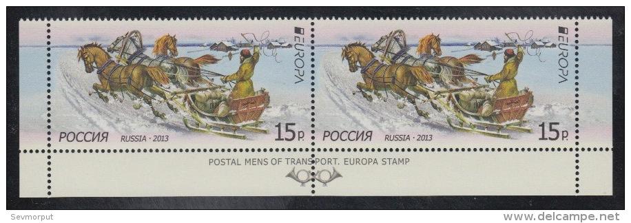 RUSSIA 2013 Pane MNH ** Stamp VF Mi 1925 EUROPE EUROPA CEPT POSTAL TRANSPORT MAIL POSTALE HORSE CHEVAL TROYKA - Blokken & Velletjes