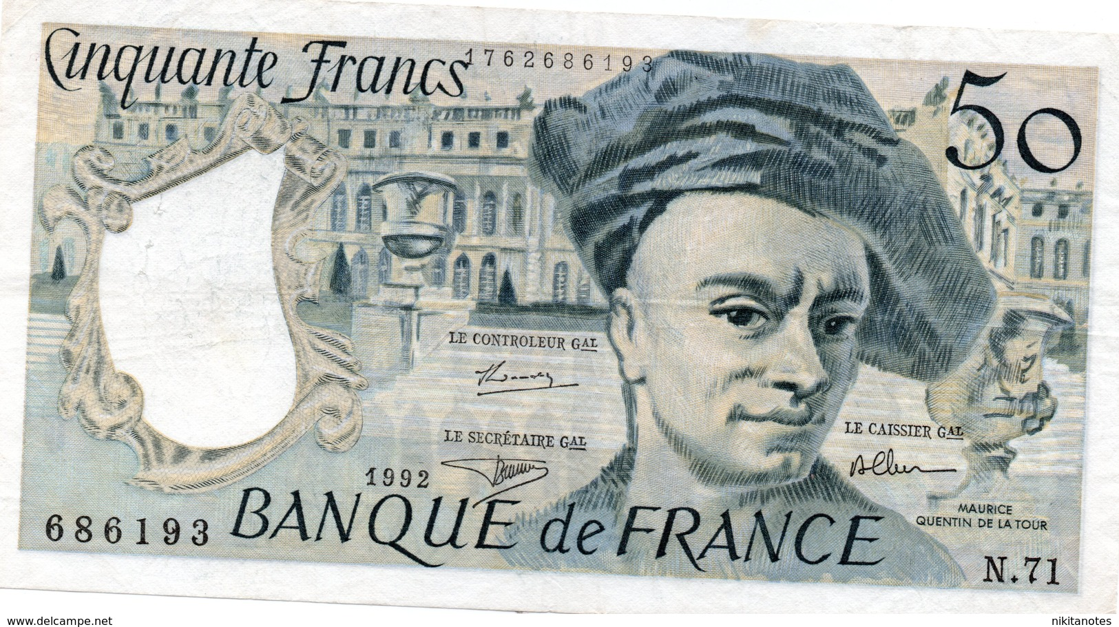 France, 50 Francs, Quentin De La Tour, 1992 See Scan - 1962-1997 ''Francs''