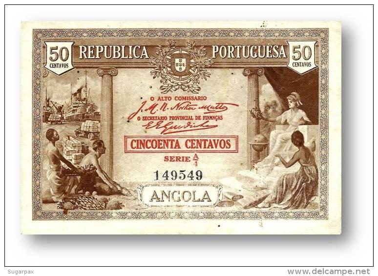 ANGOLA - 50 CENTAVOS - 1923 - P 63 - SÉRIE A/4 - Portugal - Angola