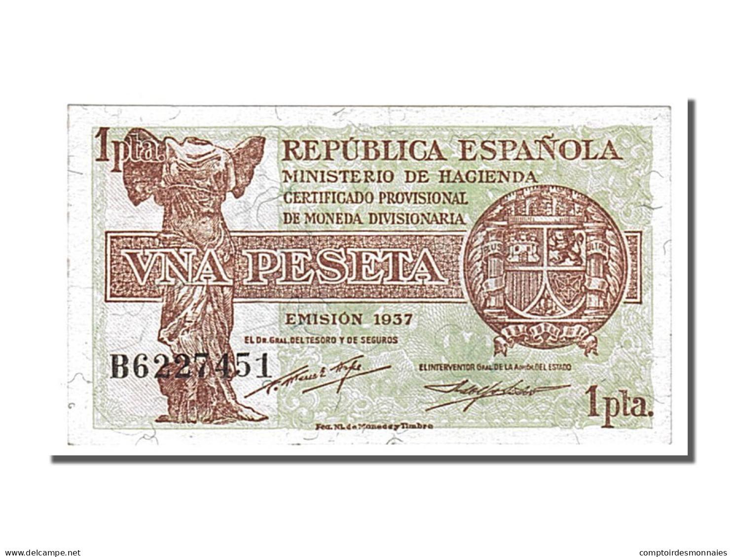Espagne, 1 Peseta Type 1937-38 - [ 3] 1936-1975 : Régence De Franco