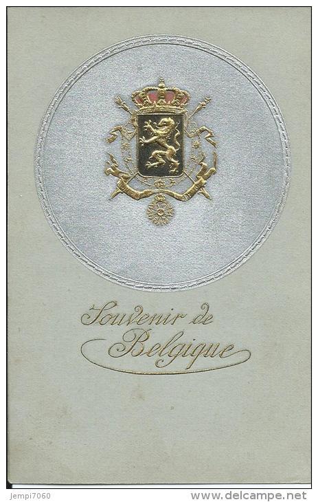 CARTE EN RELIEF - SOUVENIR DE BELGIQUE - ARMOIRIES DOREES EN RELIEF - Familles Royales