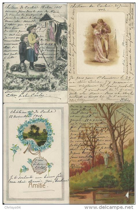 12gc 80 Corbie Lot De 60 Cpa Fantaisies écrites Du Chateau Par La Comtesse De San Carlos Poemes Citations (voir Details) - Corbie