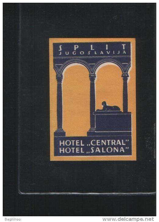 Hotel CENTRAL Hotel SALONA Split Yugoslavia - Hotel Labels