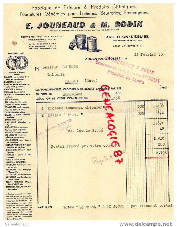79 - ARGENTON L' EGLISE - BELLE FACTURE E. JOUNEAUD & M. BODIN- FABRIQUE PRESURE POUR LAITERIE - 1956 - Frankreich
