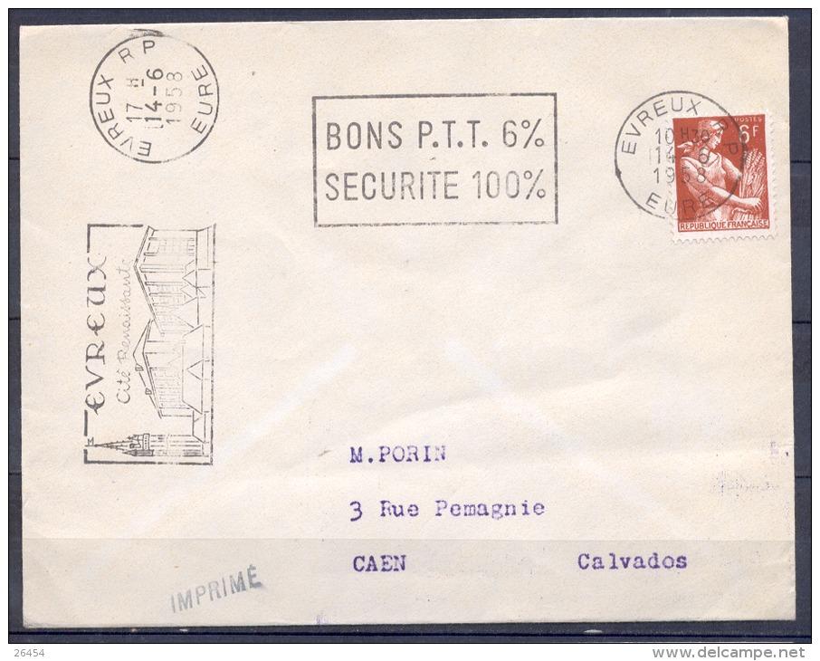 SECAP De EVREUX R.P.  Le 14 6 1958   BONS P.T.T. 6%   SECURITE 100% Pour  CAEN - Storia Postale