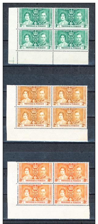 Trinidad & Tobago  Krönung Von König Georg VI Und Königin Elisbeth  Linker Untere Eckrand 4er Block Kompletter Satz  ++ - Trinidad & Tobago (...-1961)