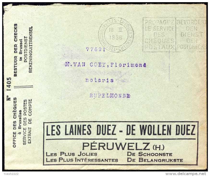 Belgique 1936. Enveloppe En Franchise Postale CCP (free Postage). Vélos Et Motos, Triporteur Van Hauwaert. Laines Duez - Motorbikes