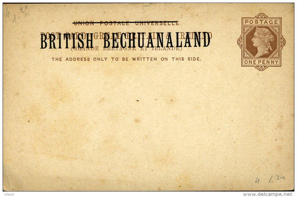 Entier Postal Carte  Post Grand Britain And Ireland 1 Penny Surchargé British Bechuanaland Traces De Rouille - Bechuanaland (...-1966)