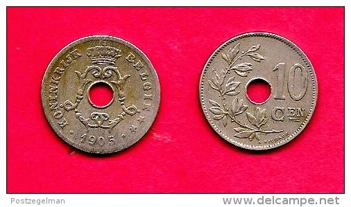 BELGIUM , 1904-5, Circulated Coin, 10 Centimes, Dutch, Km53. C1642 - 1865-1909: Leopold II