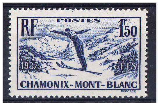 FRANCE 1937 .Nº YVERT 334.CHAMPIONNATS DE SKY .NEUFS SANS  CHARNIÈRE FR.199 - Francia