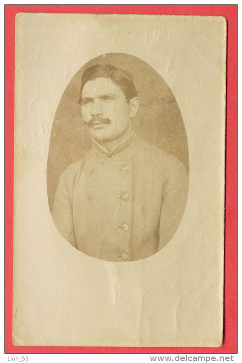 138763 / REAL PHOTO - 1919 Portrait Man Homme Mann Military Uniforms Hostage Village Of Mikra GREECE - Bulgaria Bulgarie - Gevangenis