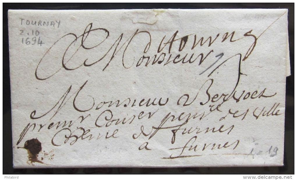MARQUE LINEAIRE De TOURNAY                 2/10/1694                Indice  19 - Marcophilie (Lettres)