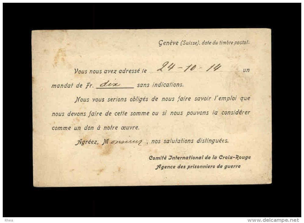 MILITARIA - FRANCHISE MILITAIRE - CROIX ROUGE - Agence Des Prisonniers De Guerre à GENEVE - Marcophilie (Lettres)