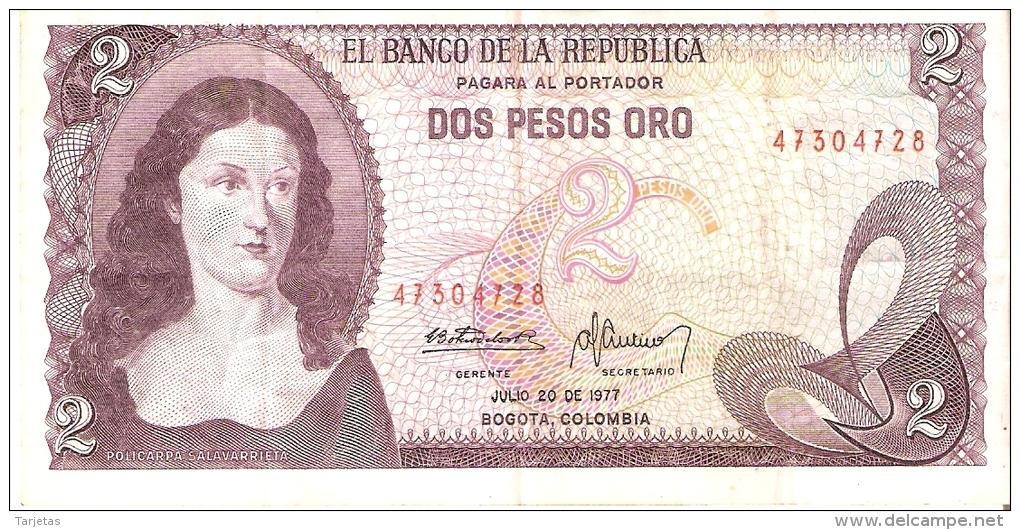 BILLETE DE COLOMBIA DE 2 PESOS DE ORO DEL AÑO 1977  (BANK NOTE) - Colombia