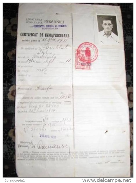 1938 JEWISH CONSULAR IMMIGRATION CERTIFICATE ROMANIA - Other