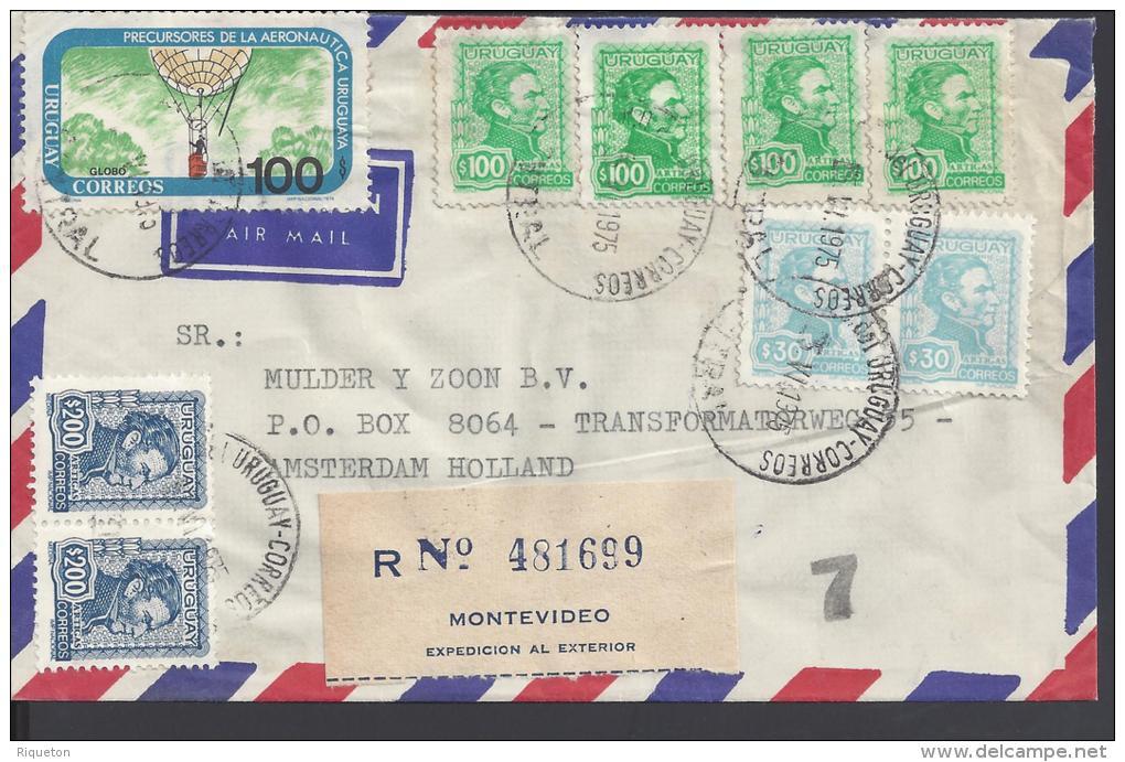 URUGUAY - 1975 -  BELLE LETTRE RECOMMANDEE DE MONTEVIDEO A DESTINATION DE AMSTERDAM - - Uruguay