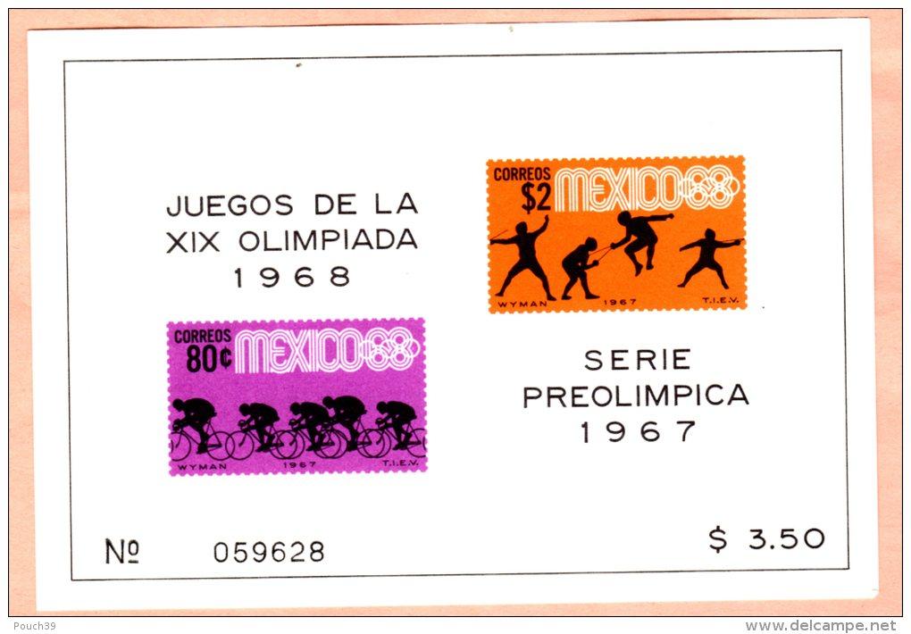 Mexique, Bloc Feuillet Jeux Olympiques 1968, Série Préolimpica 1967 - Mexico