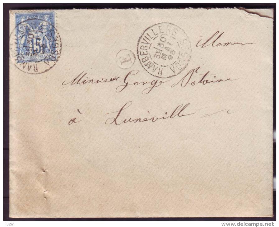 """Vosges - LAC -  Tàd T84 Rambervillers Sur N° 101 + BR """"E"""" (Fauconcourt, Identifiée Dans Le Texte) Pour Lunéville - Marcophilie (Lettres)"""