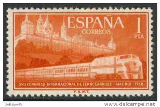 Spain Espana 1958 Mi 1132 YT 924 ** Talgo II Articulated Train And Escorial / Talgo-Schnellzug Vor Escorial-Kloster - Treinen