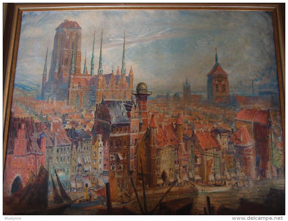 Theodor Urtnowski: Danzig-Ansicht Marienkirche, Sternwarte, Krantor - Original-Ölgemälde Auf Leinwand - Oelbilder