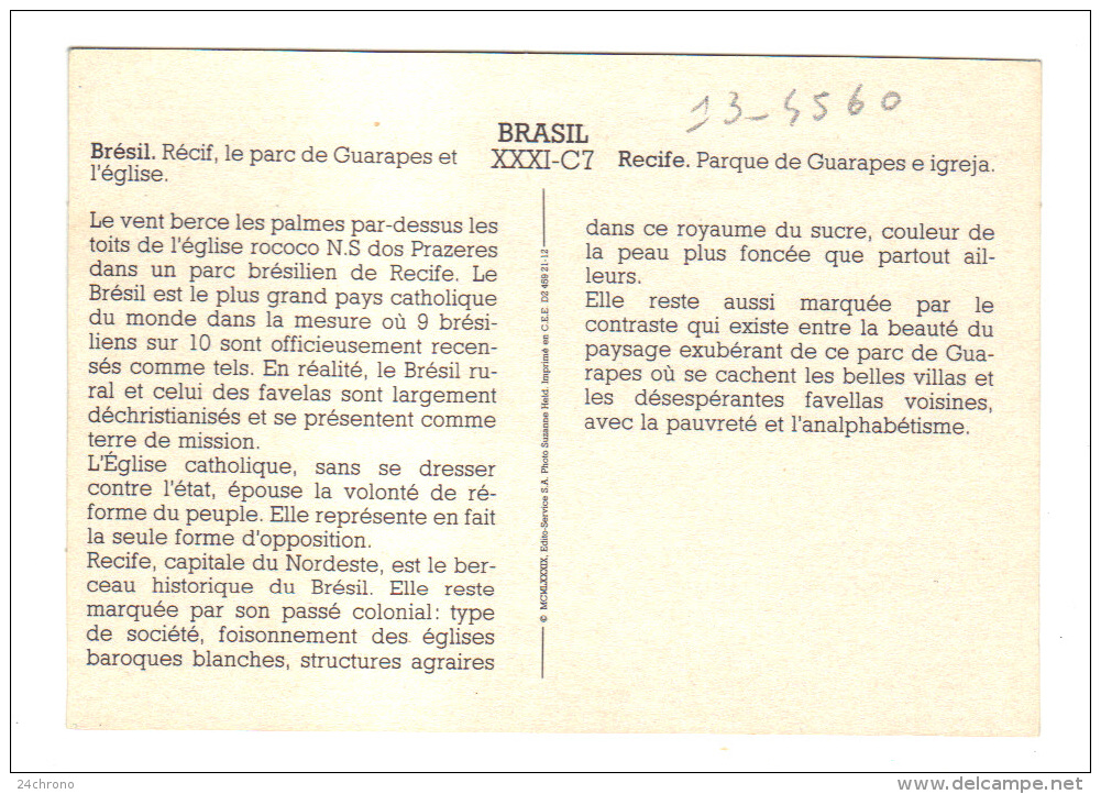 Bresil: Recif, Recife, Le Parc De Guarapes Et L' Eglise N.S Dos Prazeres (13-4560) - Recife