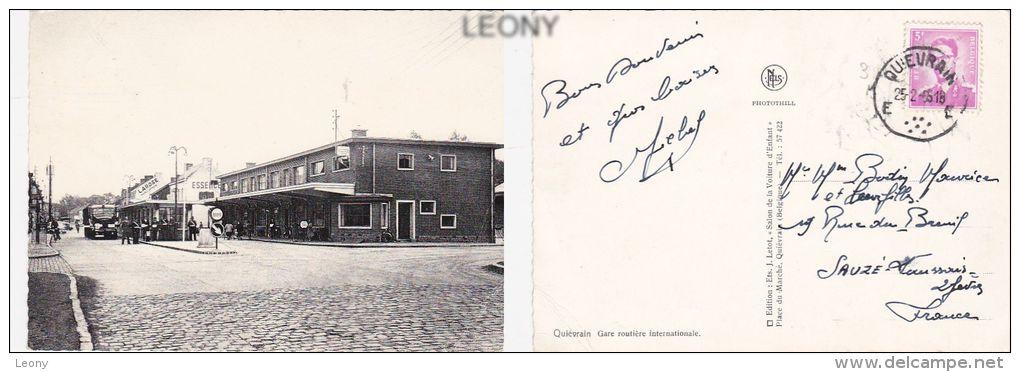 """CPSM 10X15 De QUIEVRAIN - GARE ROUTIERE  - 1955  - édit """" Salon De La Voiture D´ ENFANT """" - Quiévrain"""