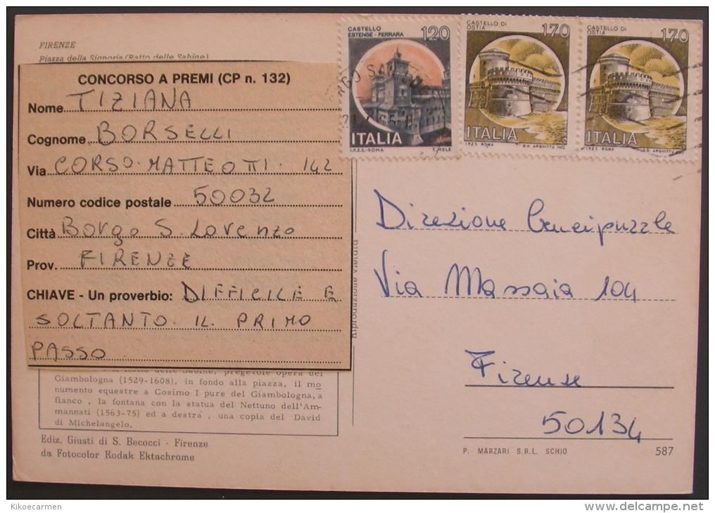 1986 Castello £ 120 170 TARIFFA CARTOLINA Castelli D´Italia Busta Lettera Usato - 1981-90: Storia Postale